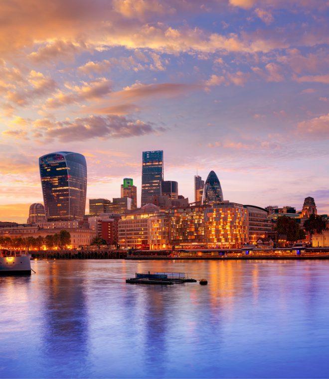 London financial district skyline sunset Square Mile England